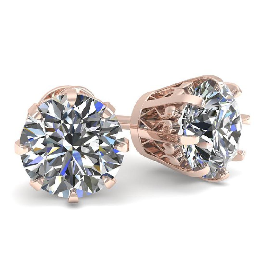 1.50 CTW VS/SI Diamond Stud Solitaire Earrings 14K Rose