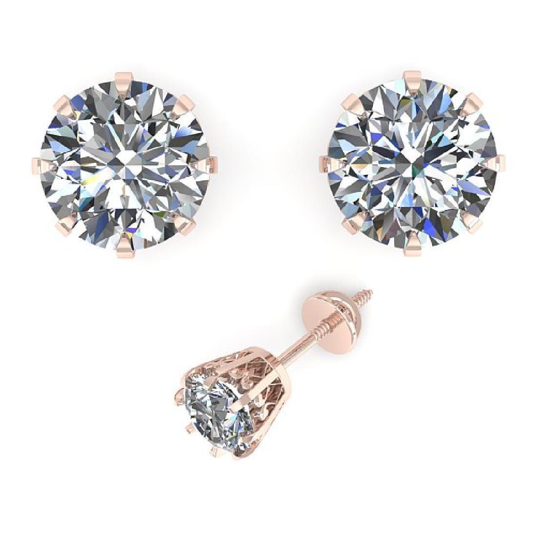 1.50 CTW VS/SI Diamond Stud Solitaire Earrings 14K Rose - 2