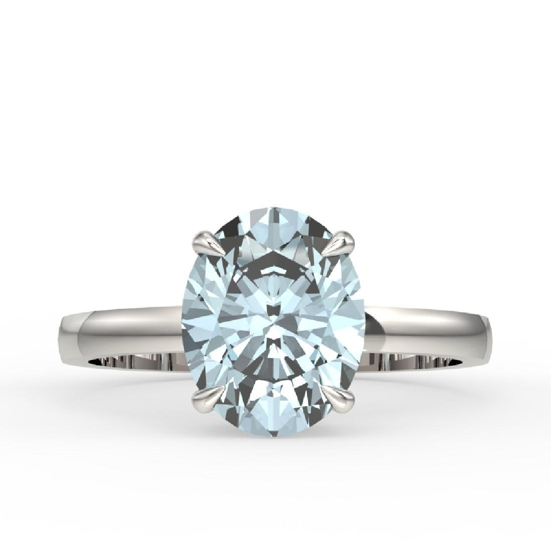 2.50 CTW Aquamarine Designer Inspired Solitaire Ring