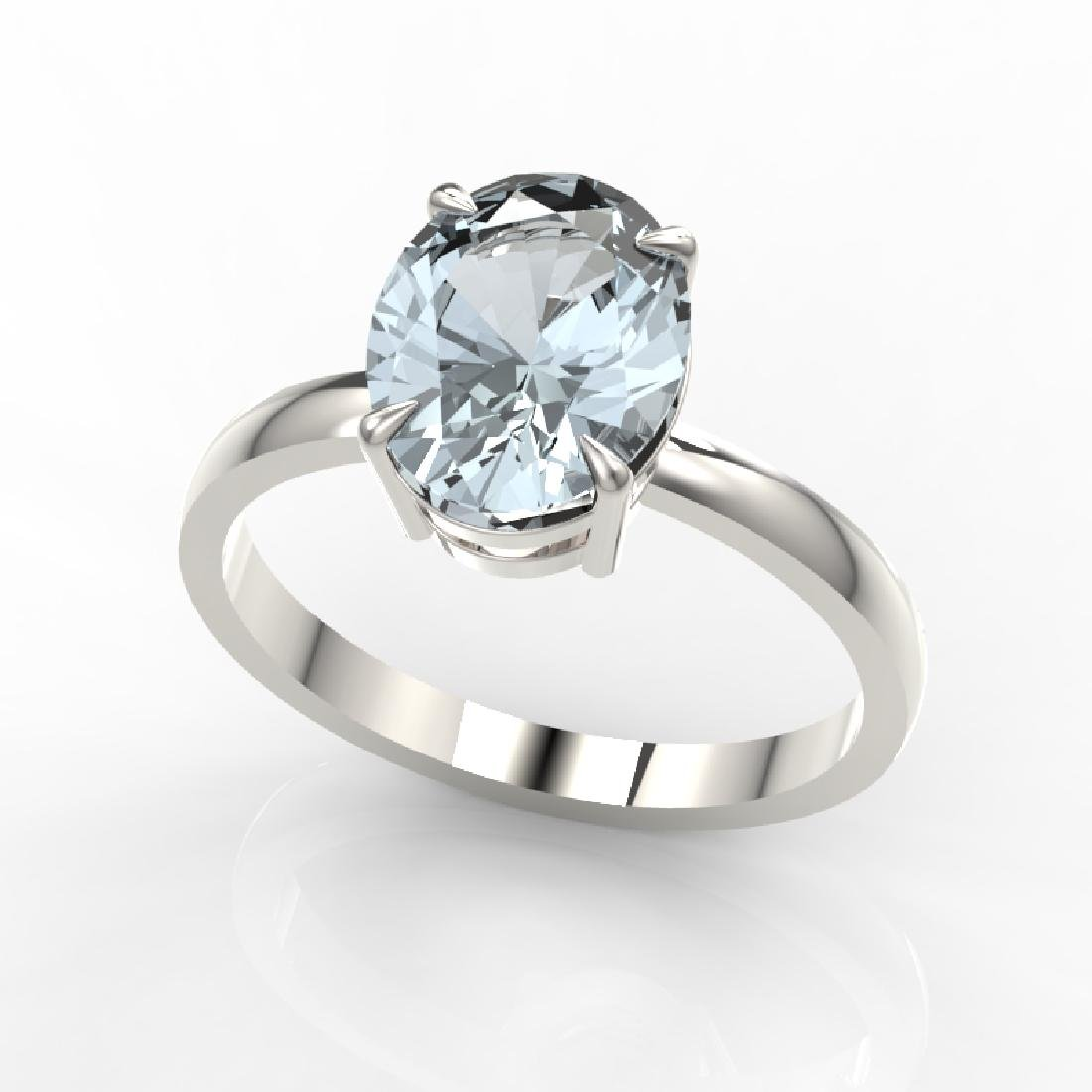 2.50 CTW Aquamarine Designer Inspired Solitaire Ring - 2