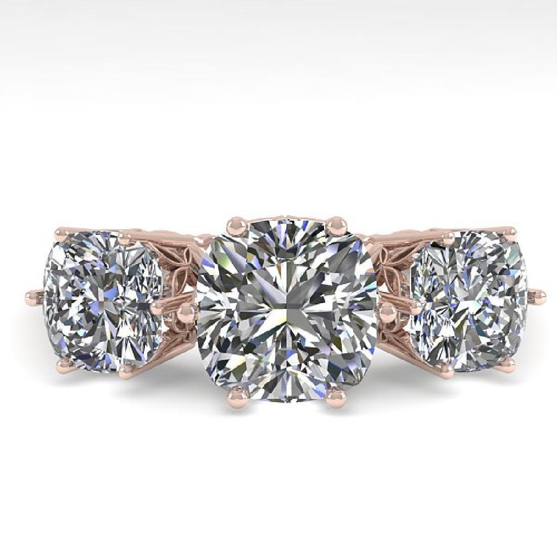 2.0 CTW Certified VS/SI Cushion Diamond Art Deco Ring