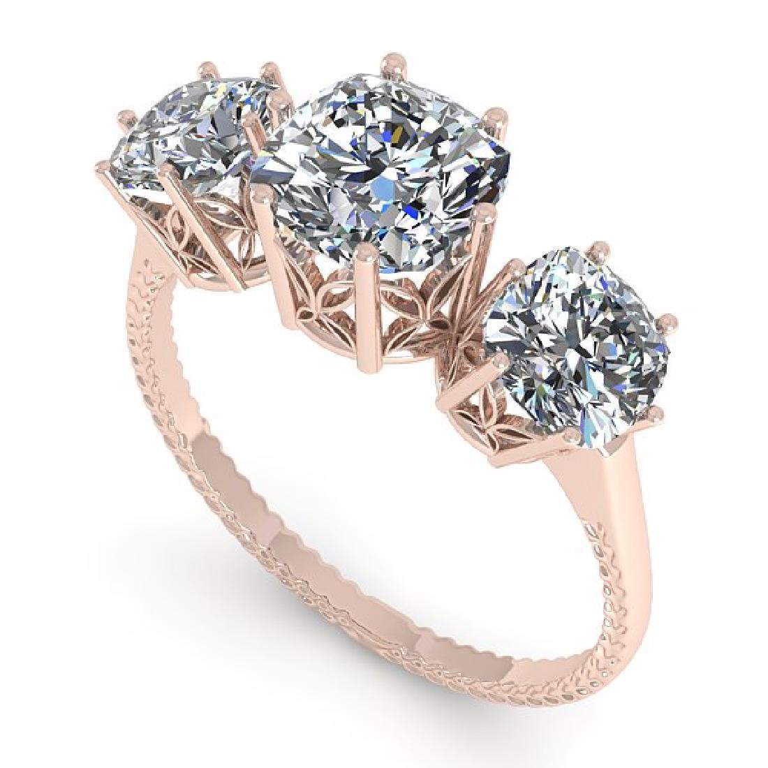 2.0 CTW Certified VS/SI Cushion Diamond Art Deco Ring - 2