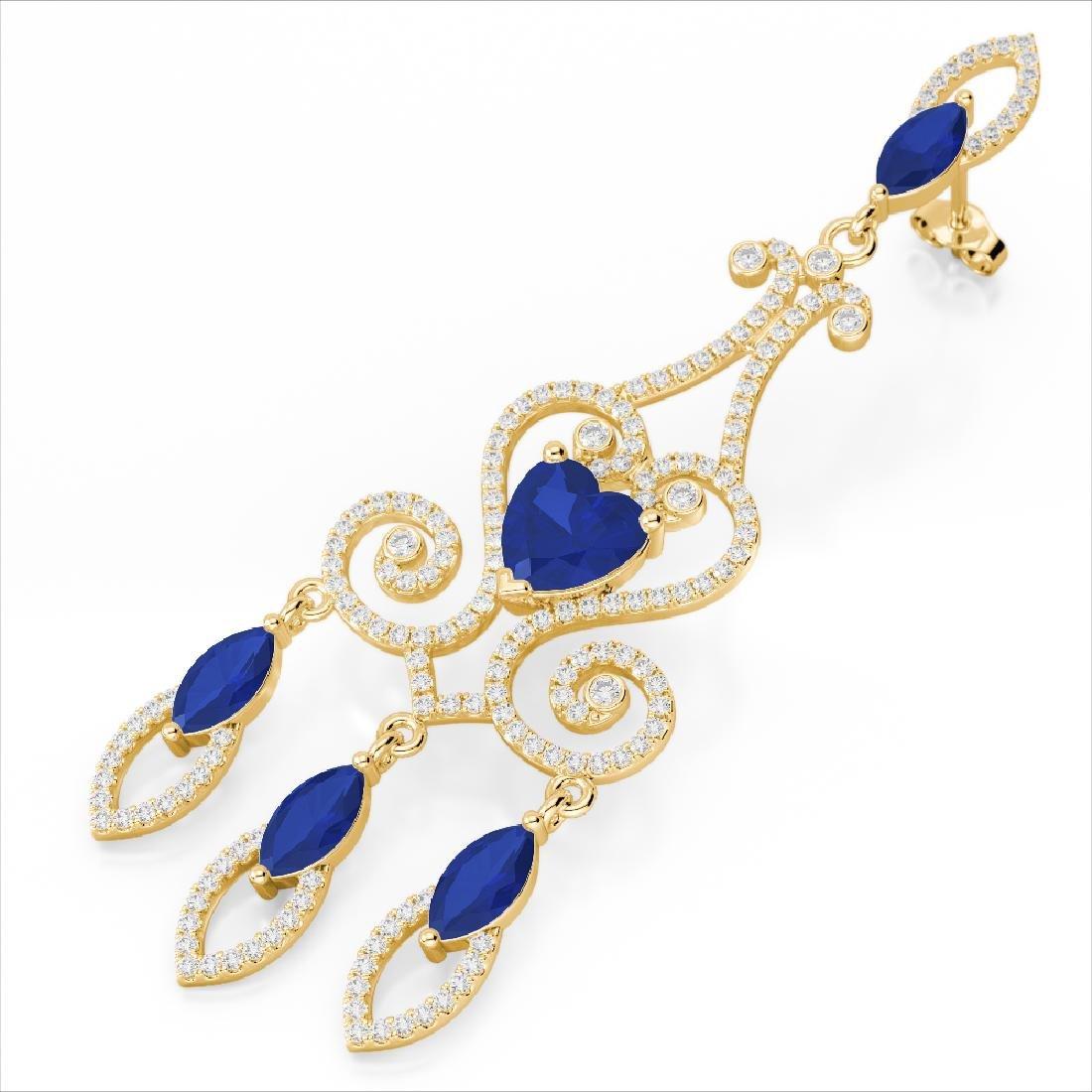 11 CTW Sapphire & Micro Pave VS/SI Diamond Earrings 14K