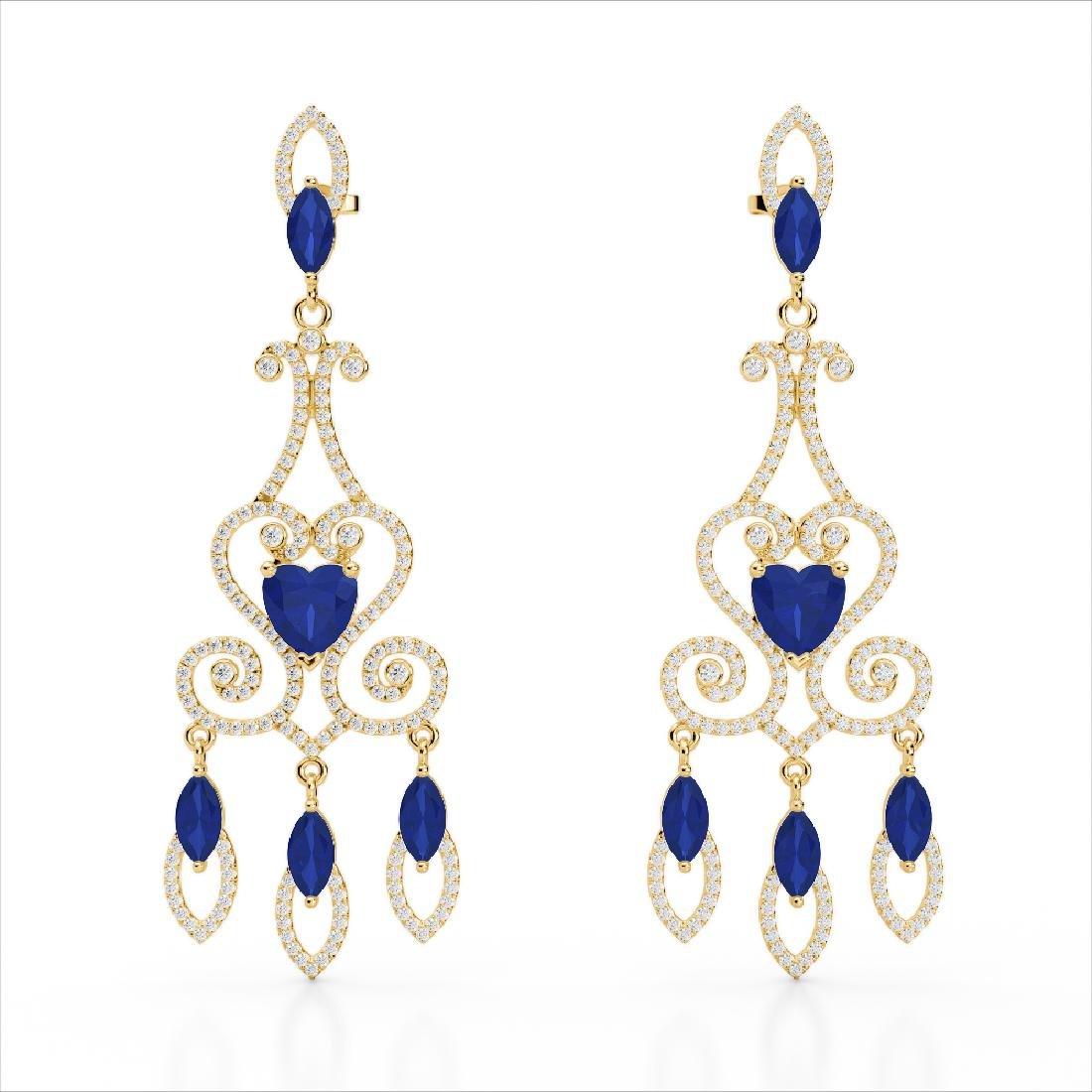11 CTW Sapphire & Micro Pave VS/SI Diamond Earrings 14K - 2