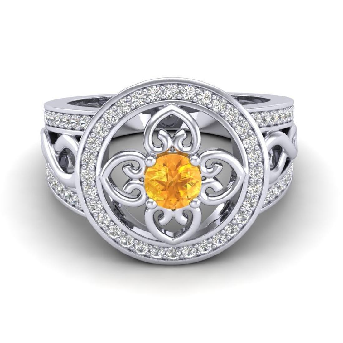 1 CTW VS/SI Diamond & Citrine Micro Pave Designer Ring