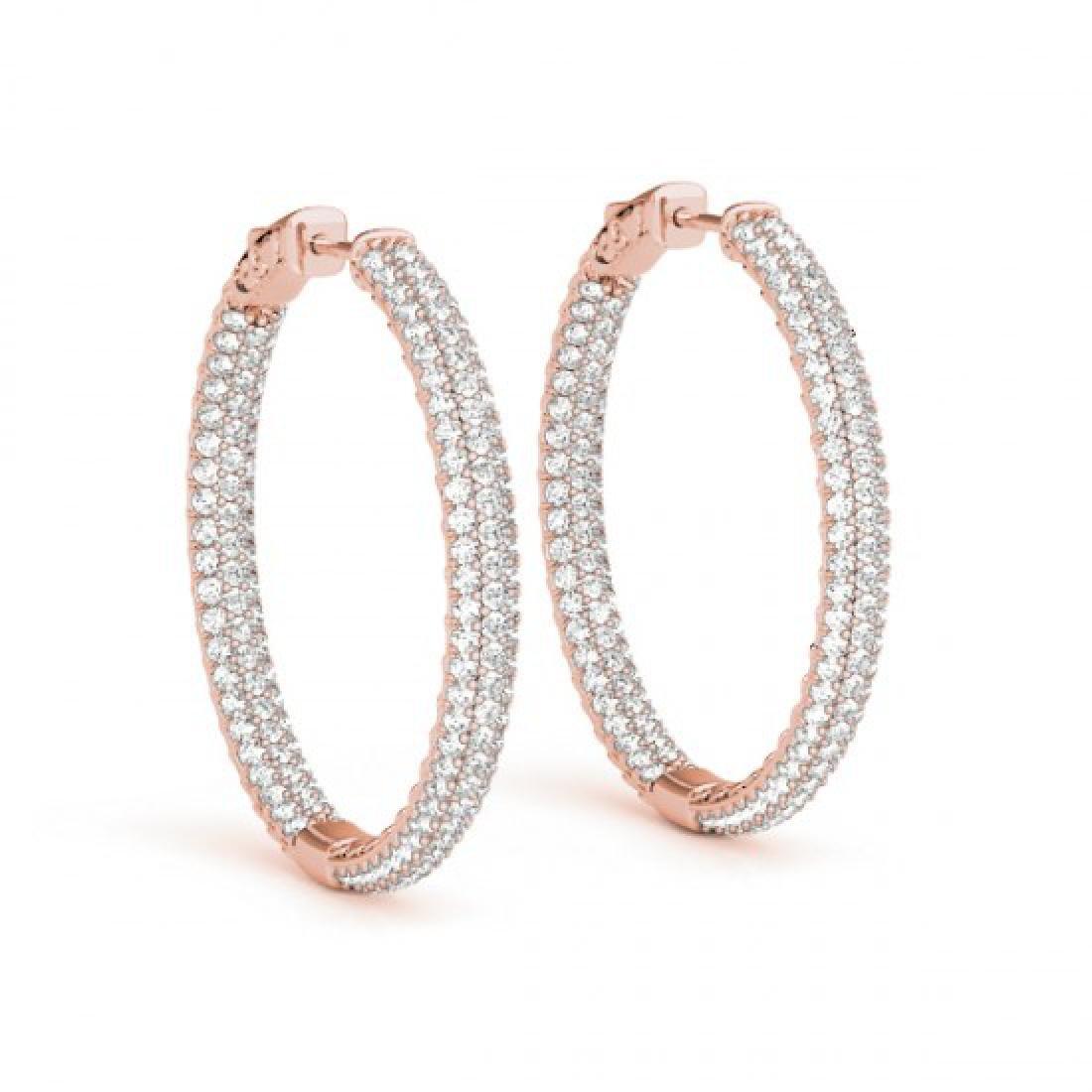 1.5 CTW Diamond VS/SI Certified 16 Mm Hoop Earrings 14K - 2