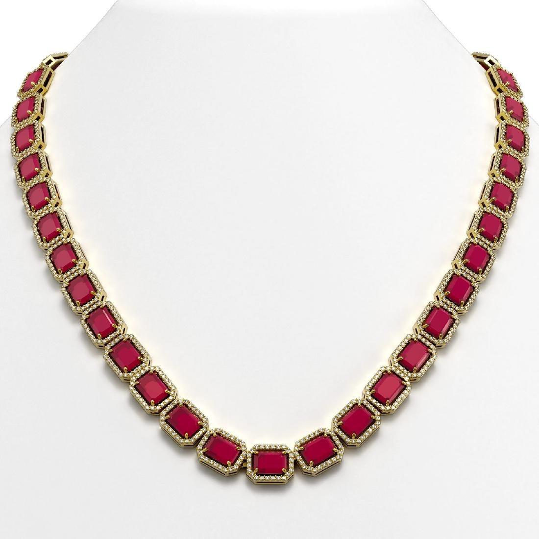 58.59 CTW Ruby & Diamond Halo Necklace 10K Yellow Gold