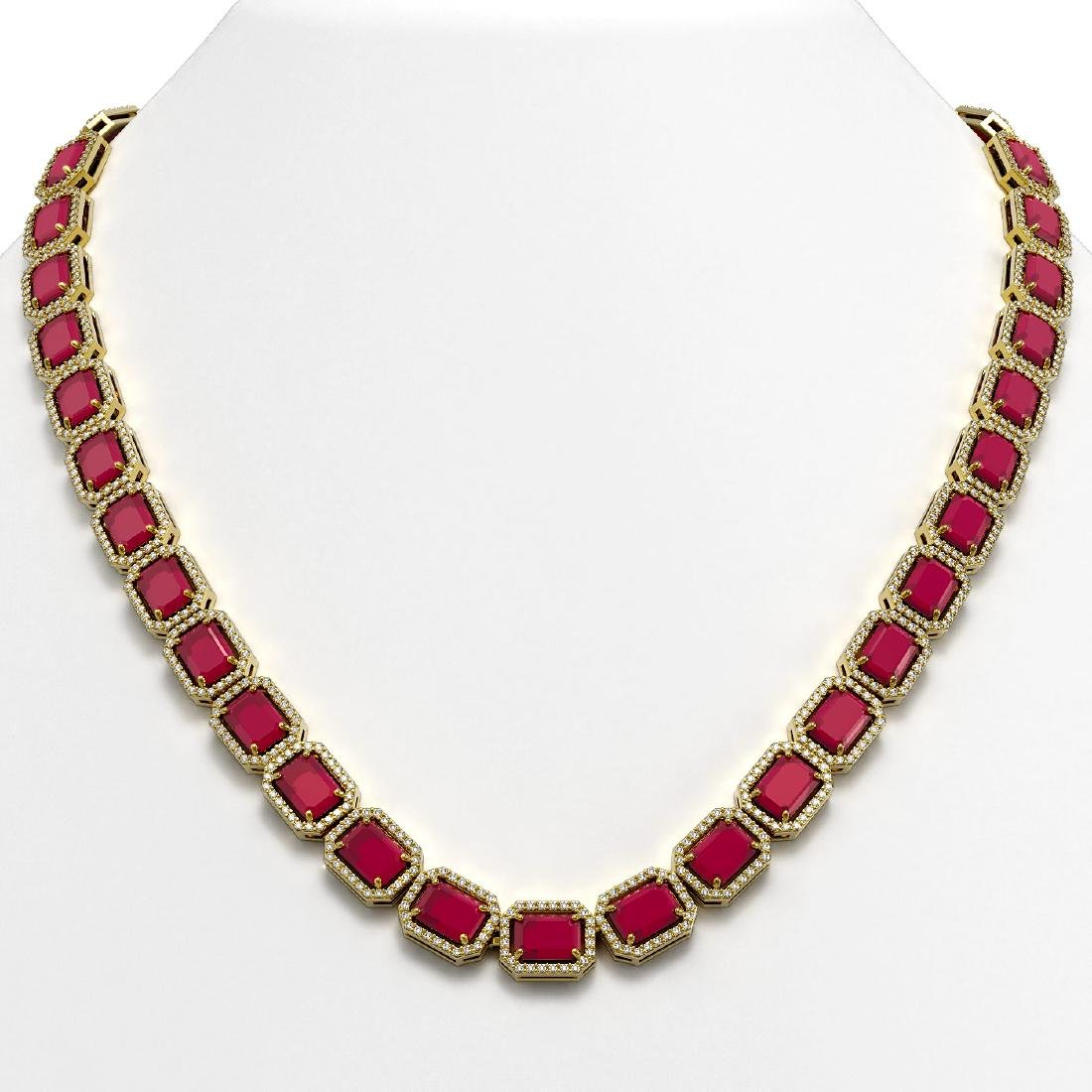 58.59 CTW Ruby & Diamond Halo Necklace 10K Yellow Gold