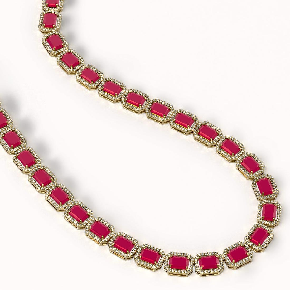 58.59 CTW Ruby & Diamond Halo Necklace 10K Yellow Gold - 2