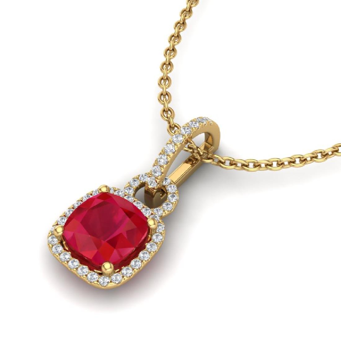3 CTW Ruby & Micro VS/SI Diamond Necklace 18K Yellow