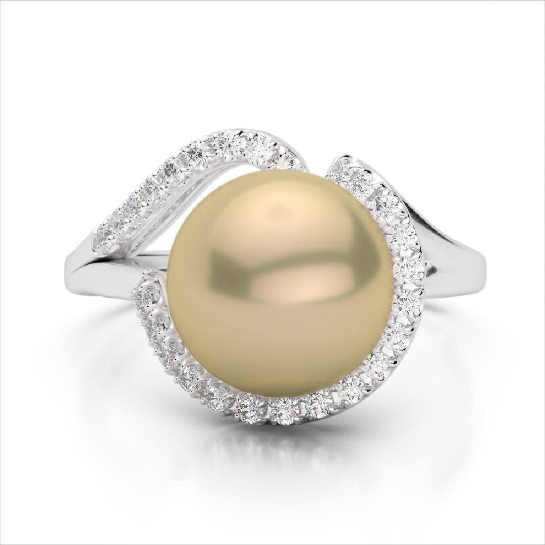 0.27 CTW VS/SI Diamond & Golden Pearl Designer Ring 18K