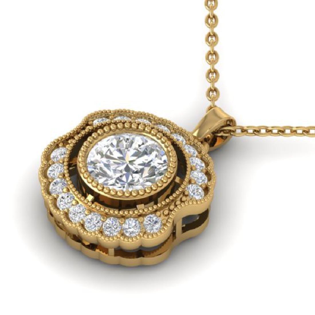 1.02 CTW Certified VS/SI Diamond Art Deco Necklace 18K - 2