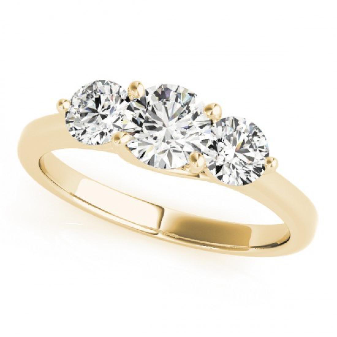 0.5 CTW Certified VS/SI Diamond 3 Stone Ring 14K Yellow - 2