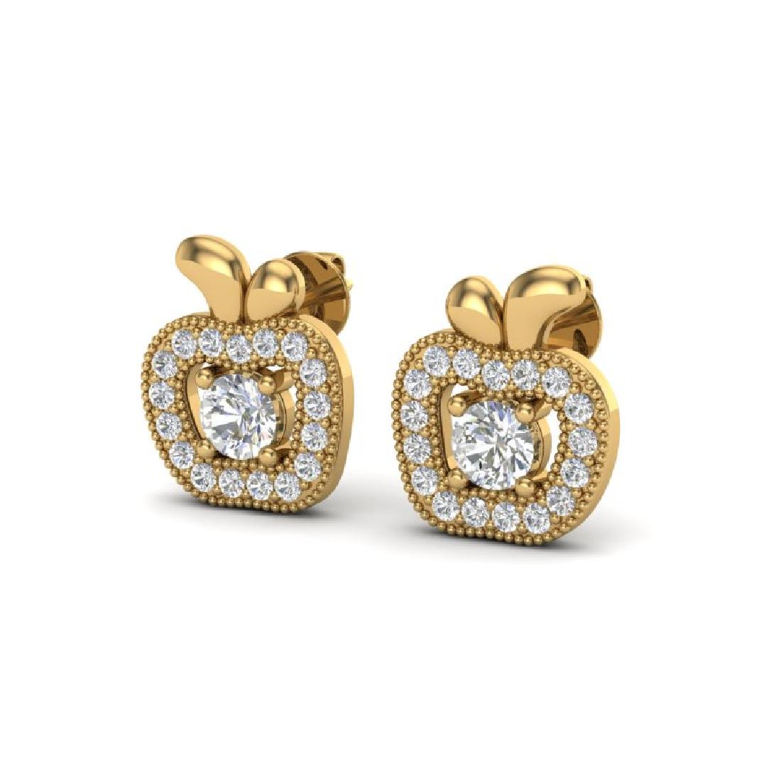 0.60 CTW VS/SI Diamond Micro Pave Halo Earrings 18K