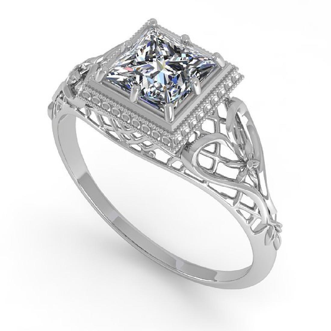 1.0 CTW VS/SI Princess Diamond Solitaire Ring Art Deco - 2