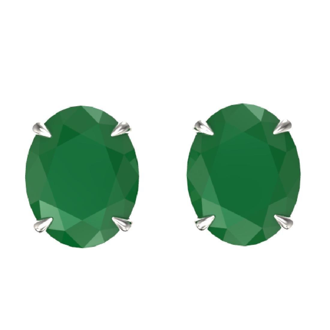 7 CTW Emerald Designer Inspired Solitaire Stud Earrings