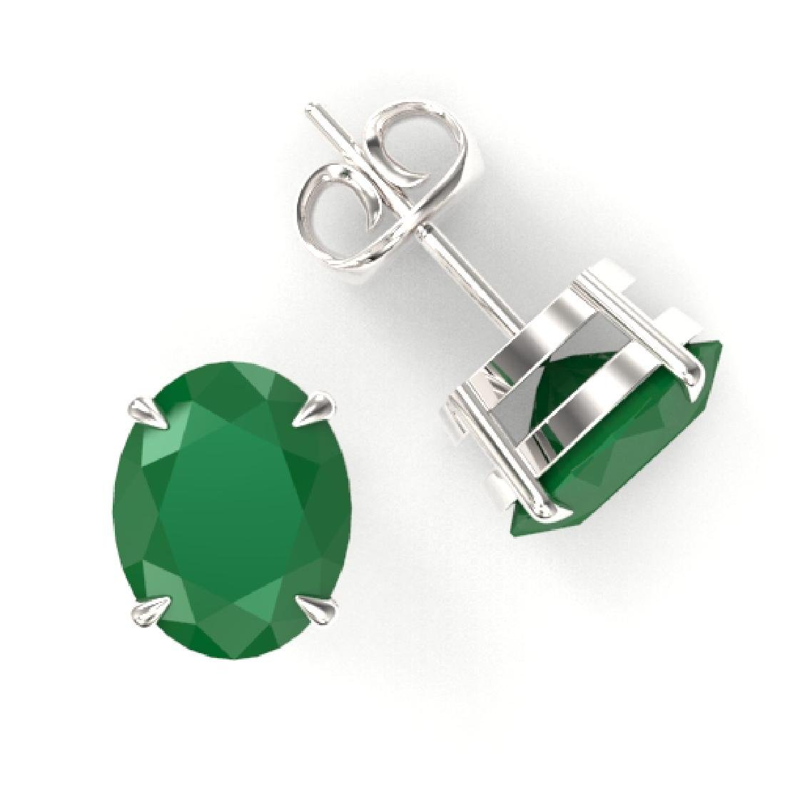 7 CTW Emerald Designer Inspired Solitaire Stud Earrings - 2