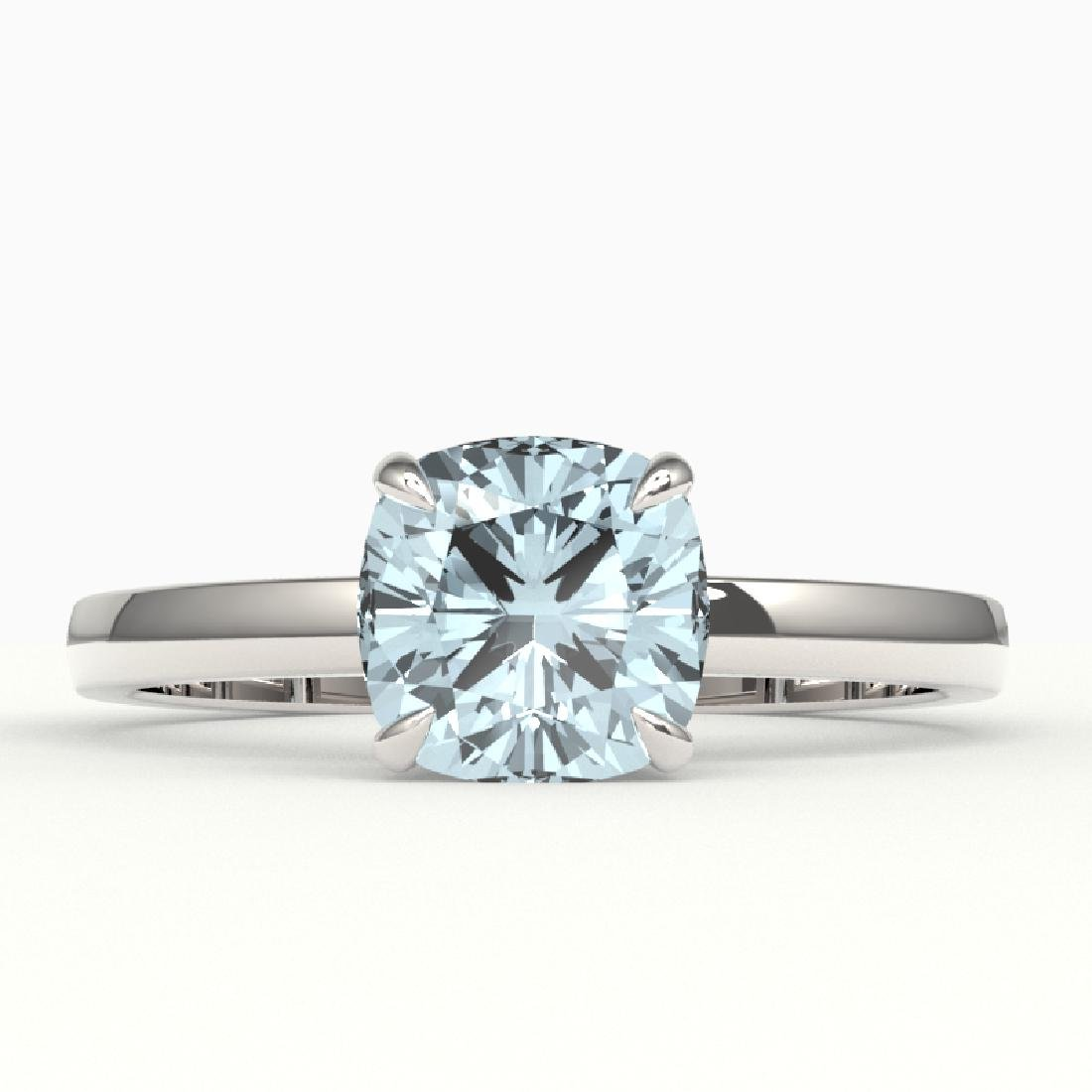 1.50 CTW Cushion Cut Aquamarine Designer Solitaire Ring