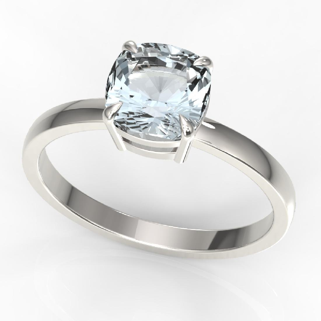 1.50 CTW Cushion Cut Aquamarine Designer Solitaire Ring - 2