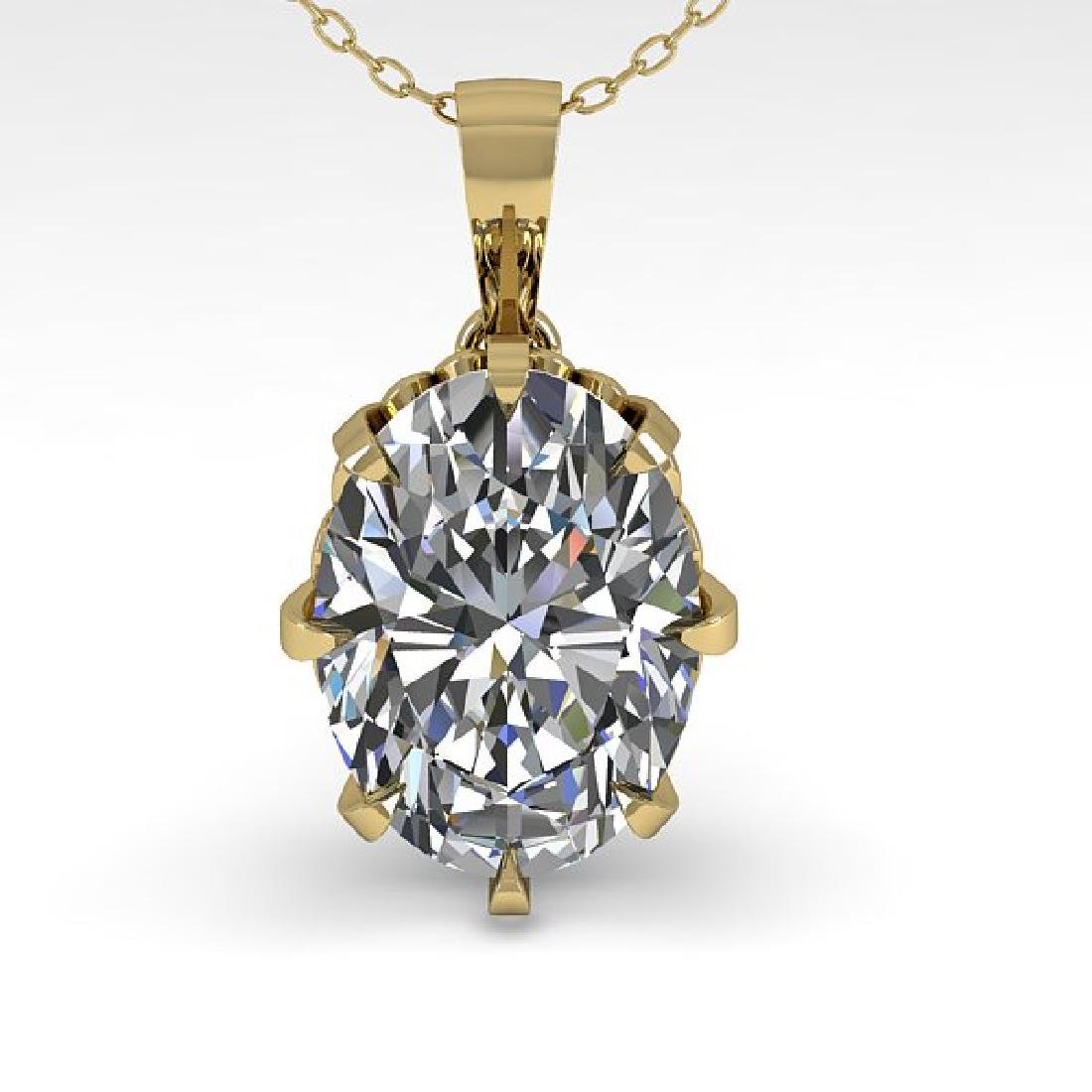 1 CTW VS/SI Oval Diamond Solitaire Necklace 14K Yellow - 2