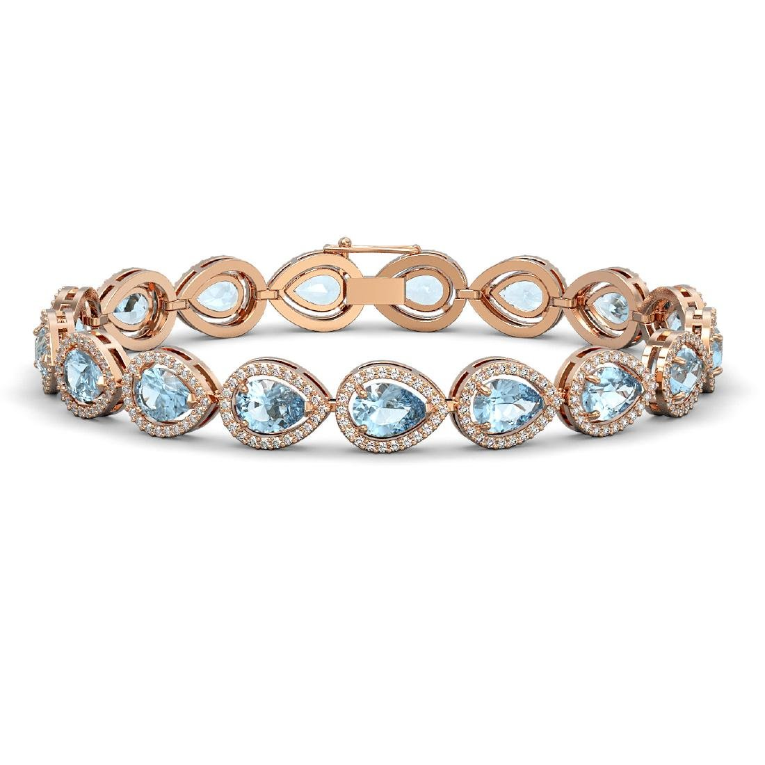 15.74 CTW Aquamarine & Diamond Halo Bracelet 10K Rose
