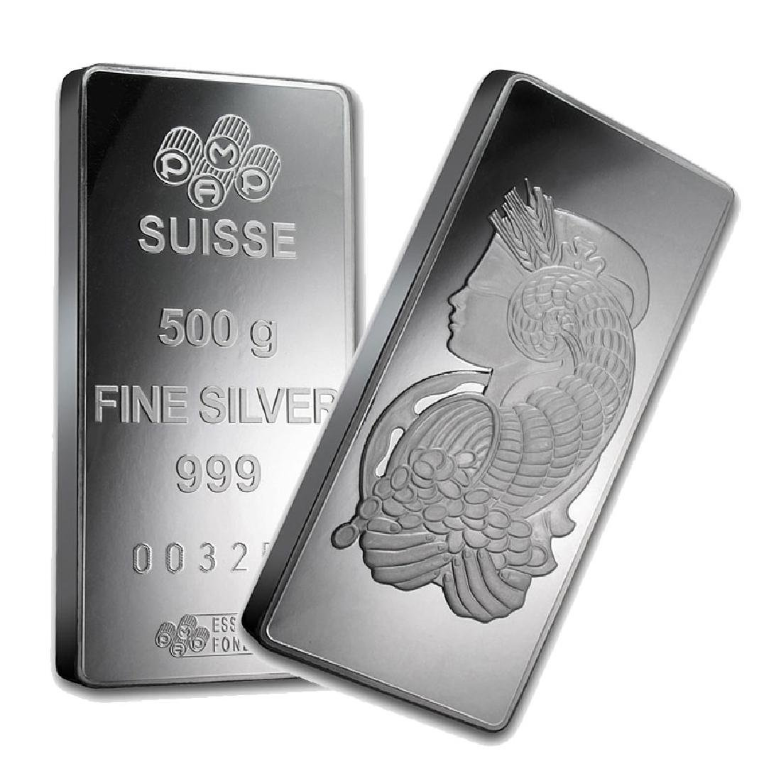 One piece 500 gram 0.999 Fine Silver Bar PAMP Suisse
