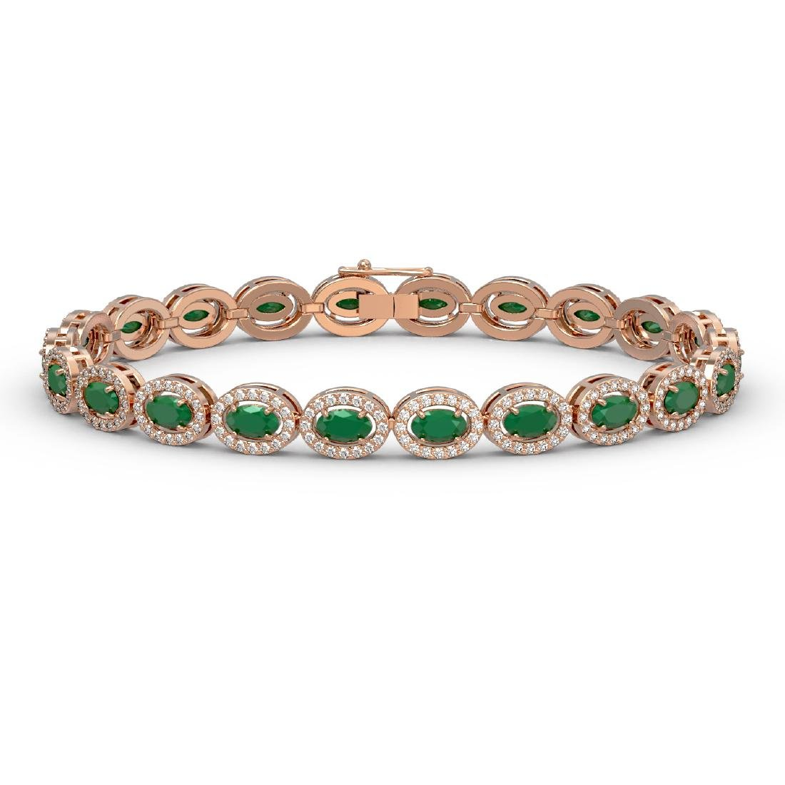 11.58 CTW Emerald & Diamond Halo Bracelet 10K Rose Gold