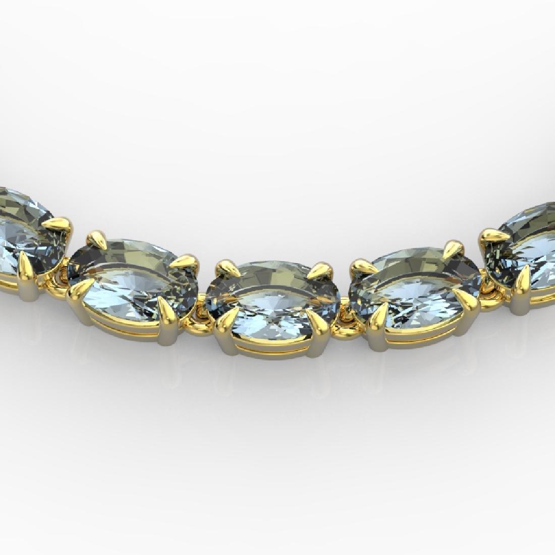 29 CTW Aquamarine Eternity Tennis Necklace 14K Yellow