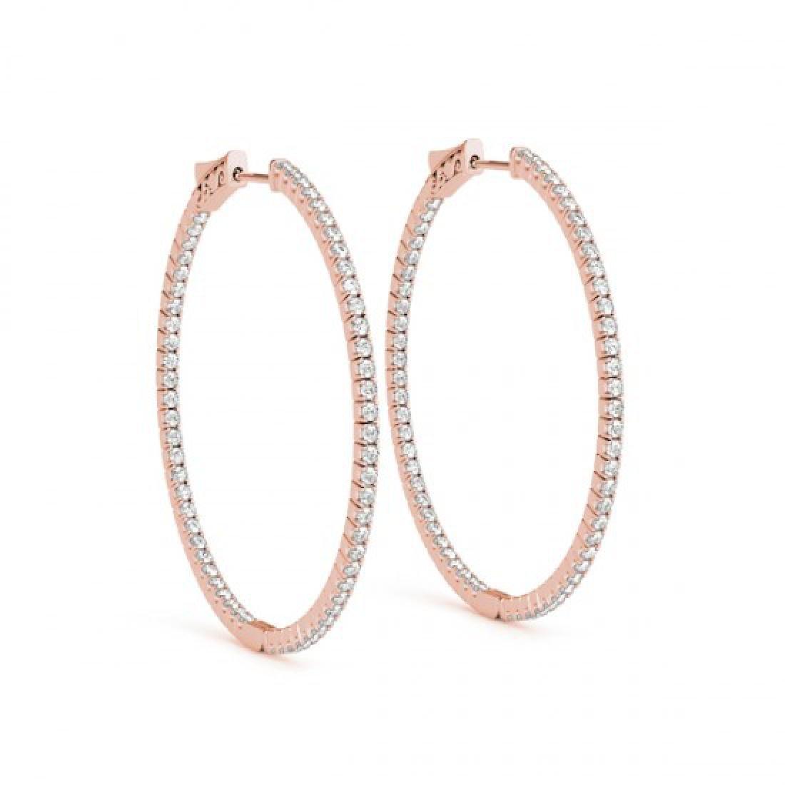 3.5 CTW Diamond VS/SI Certified 57 Mm Hoop Earrings 14K - 2