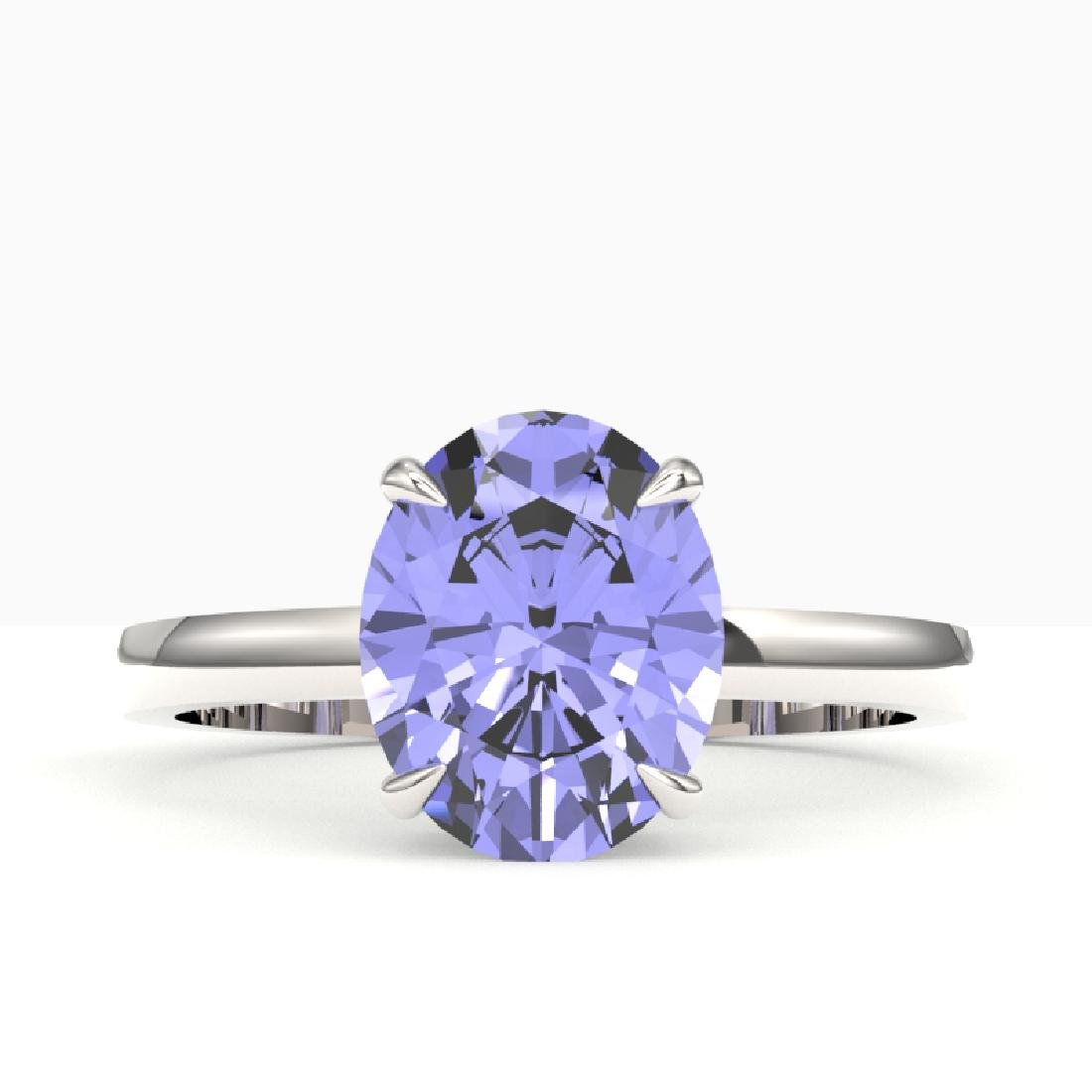 3.50 CTW Tanzanite Designer Inspired Solitaire Ring 18K