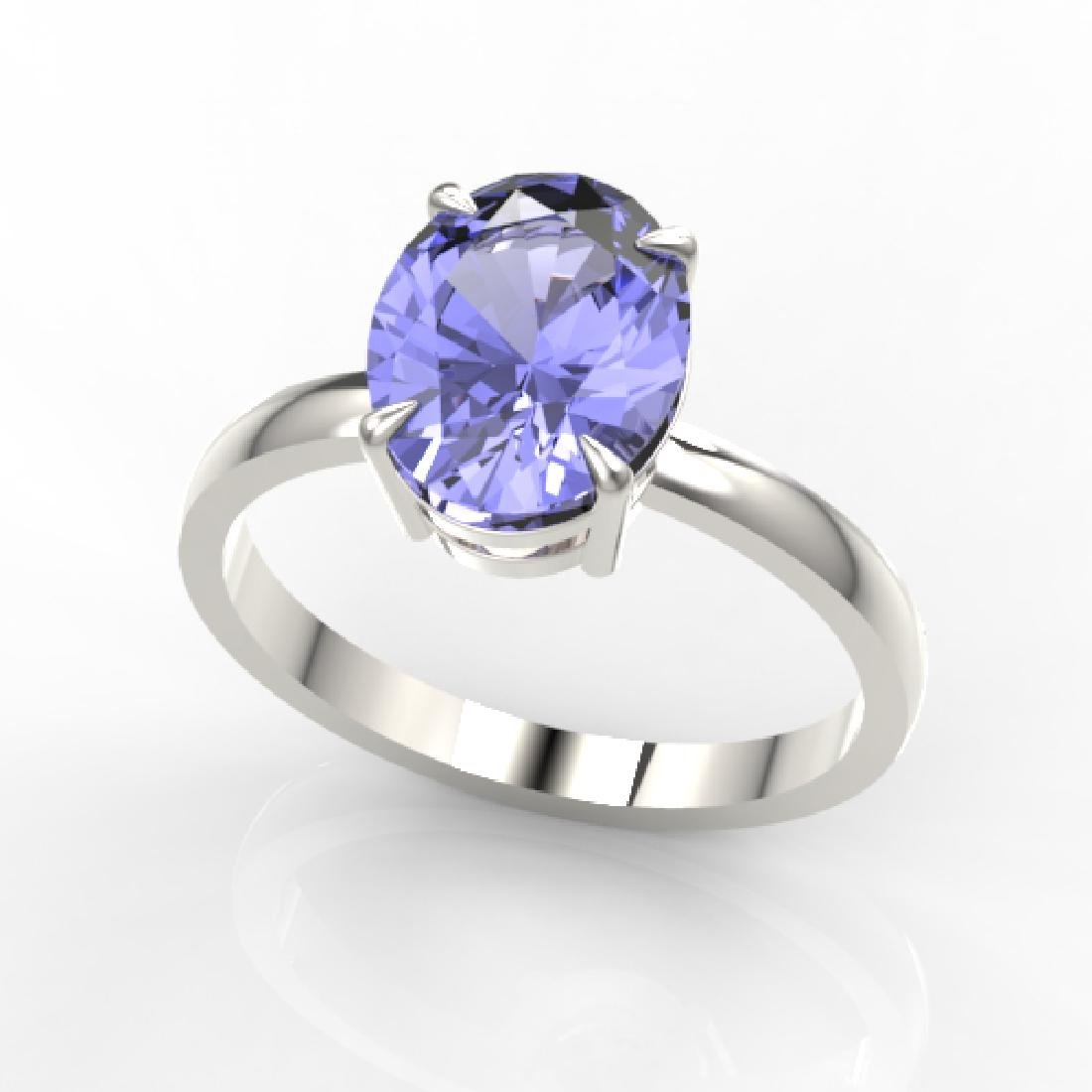 3.50 CTW Tanzanite Designer Inspired Solitaire Ring 18K - 2