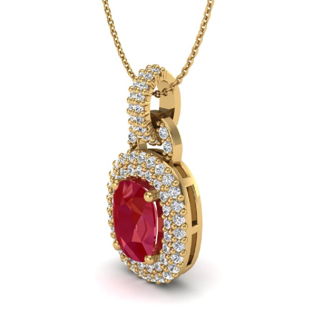 2.50 CTW Ruby And Micro Pave VS/SI Diamond Necklace - 2