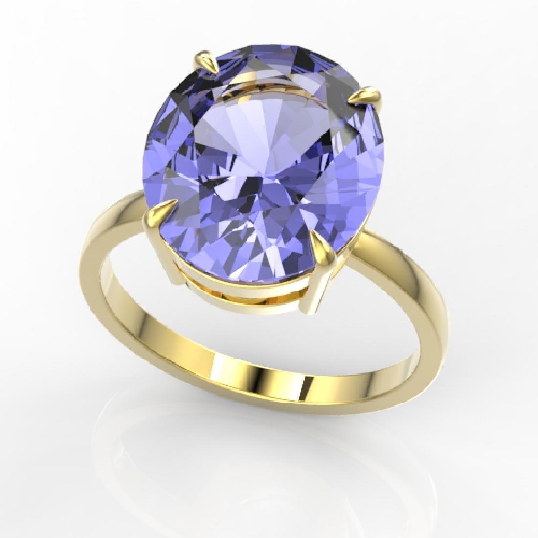 9 CTW Tanzanite Designer Solitaire Engagement Ring 18K - 2