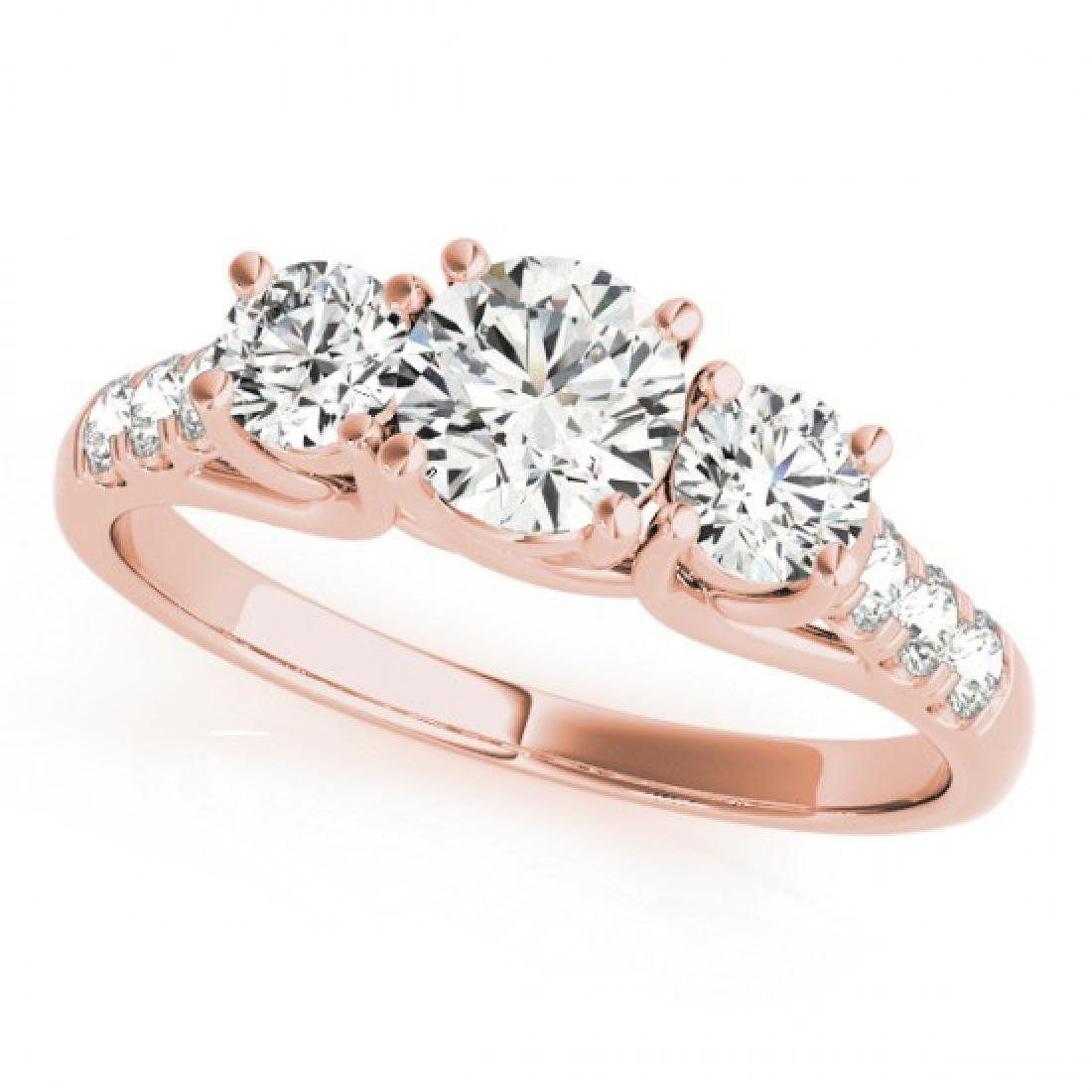 0.75 CTW Certified VS/SI Diamond 3 Stone Ring 14K Rose - 2