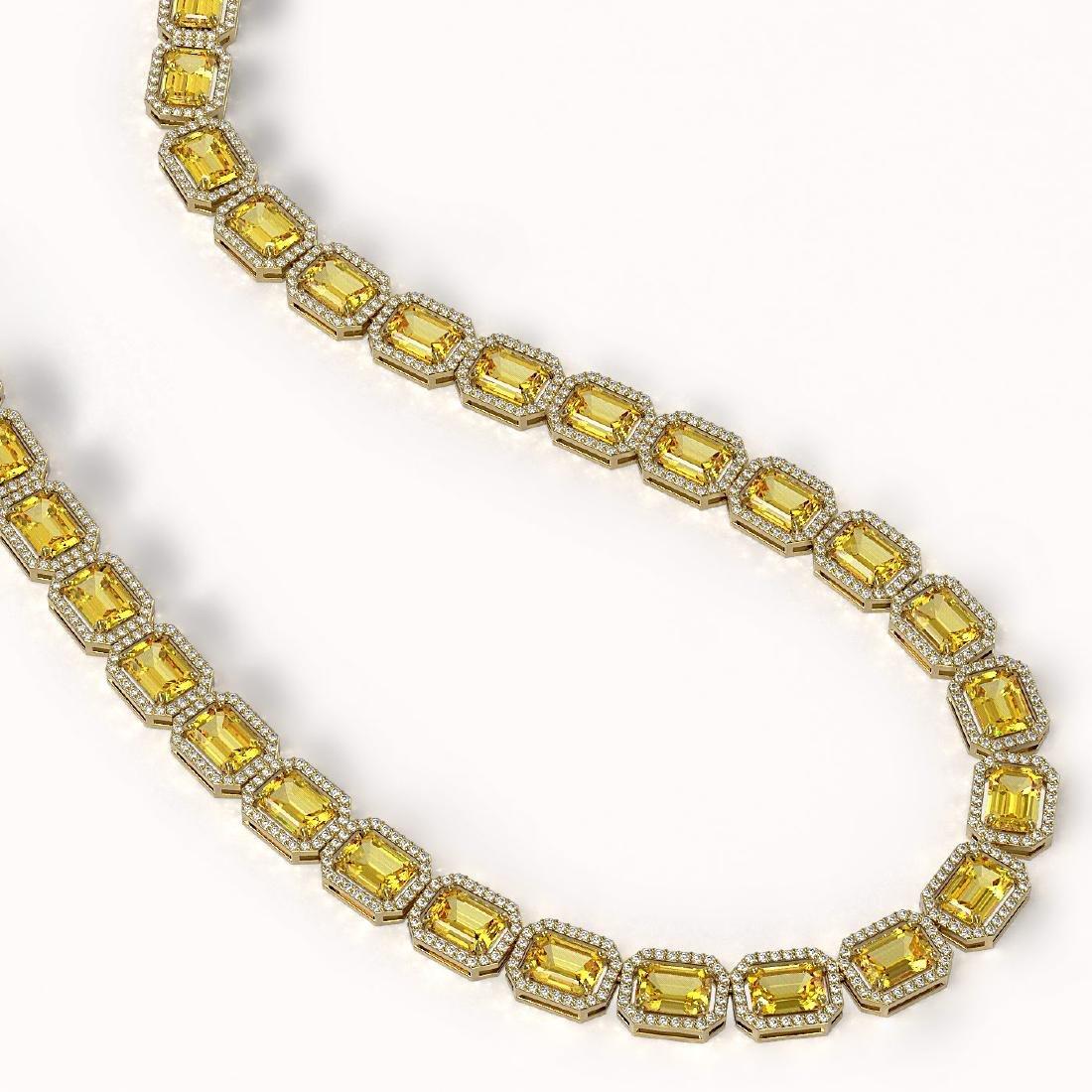 52.94 CTW Fancy Citrine & Diamond Halo Necklace 10K - 2