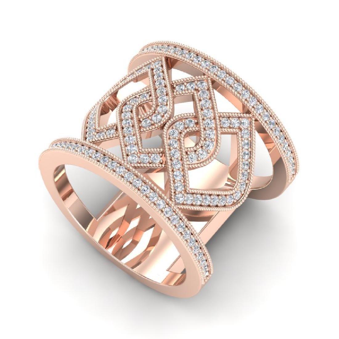 0.90 CTW Ring Micro Pave VS/SI Diamond Designer Modern