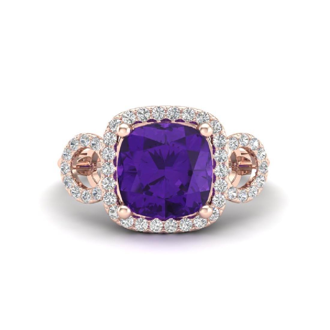 3.75 CTW Amethyst & Micro VS/SI Diamond Ring 14K Rose