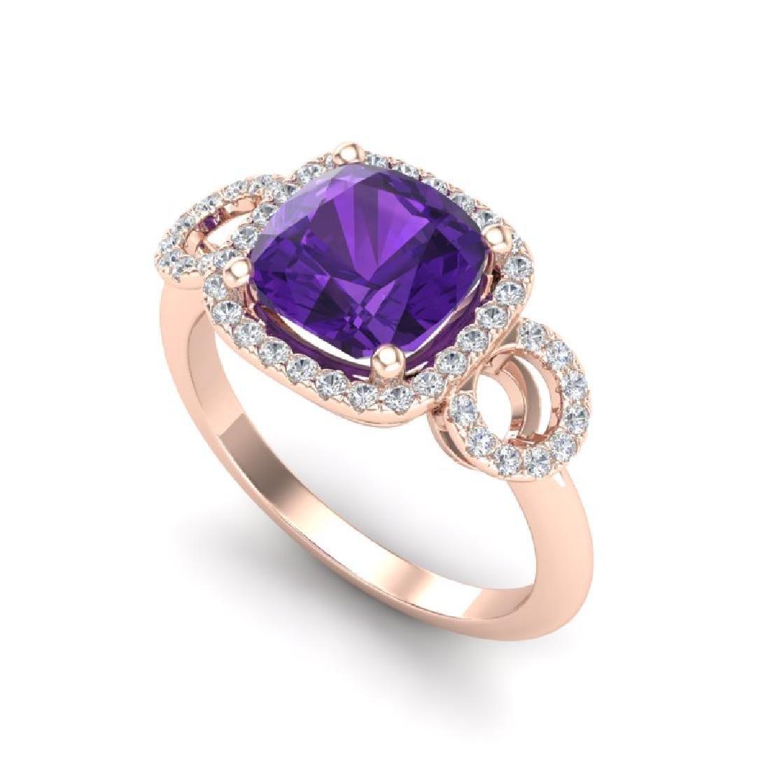 3.75 CTW Amethyst & Micro VS/SI Diamond Ring 14K Rose - 2