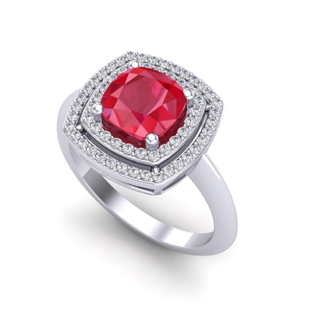 2.52 CTW Ruby & Micro VS/SI Diamond Pave Halo Ring 18K - 2