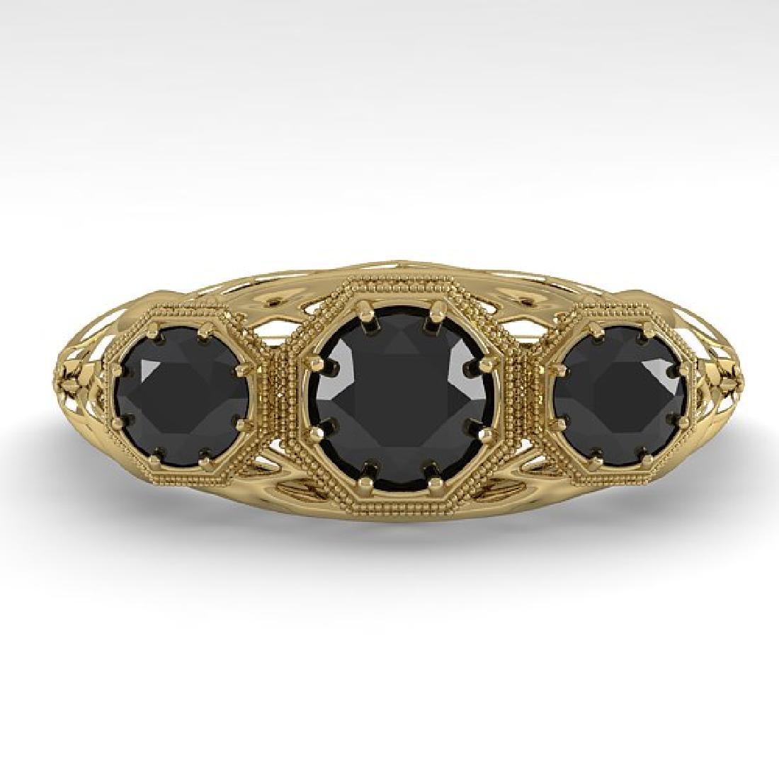 1.00 CTW Black Diamond Art Deco Ring 14K Yellow Gold
