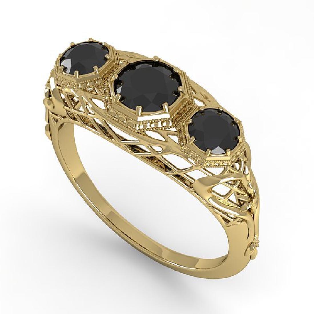 1.00 CTW Black Diamond Art Deco Ring 14K Yellow Gold - 2