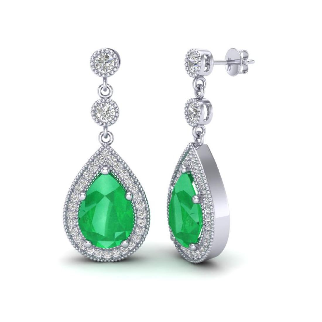 6 CTW Emerald & Micro Pave VS/SI Diamond Earrings - 2