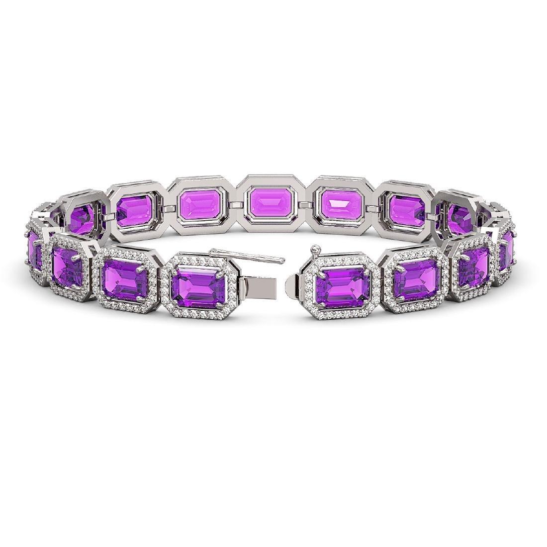 22.81 CTW Amethyst & Diamond Halo Bracelet 10K White - 2