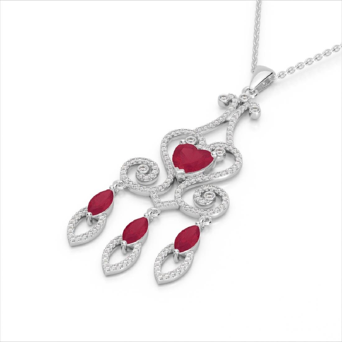 5.50 CTW Ruby & Micro Pave VS/SI Diamond Heart Necklace - 2