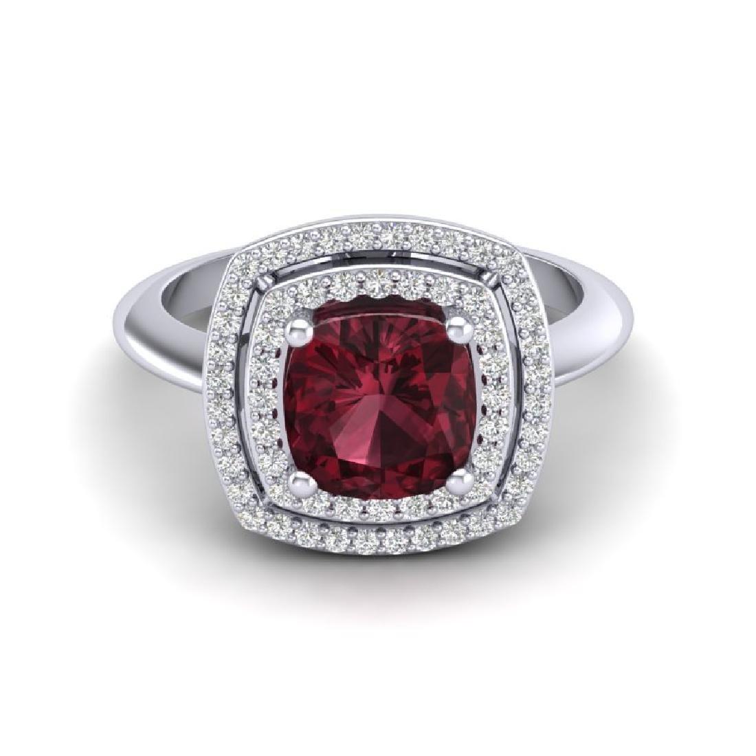2.27 CTW Garnet & Micro VS/SI Diamond Pave Halo Ring
