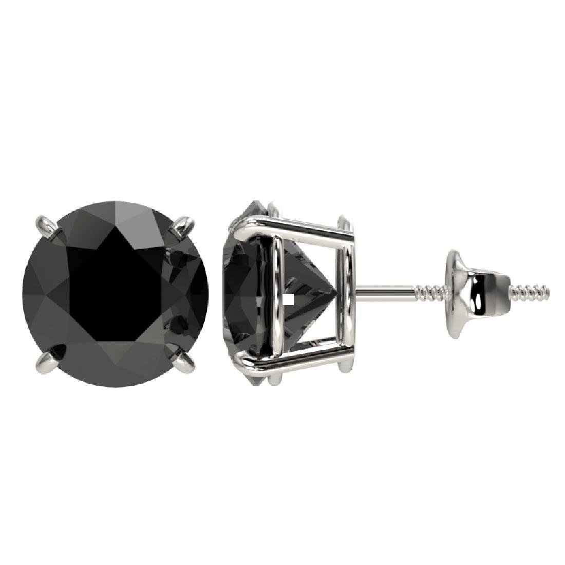4 CTW Fancy Black VS Diamond Solitaire Stud Earrings - 2