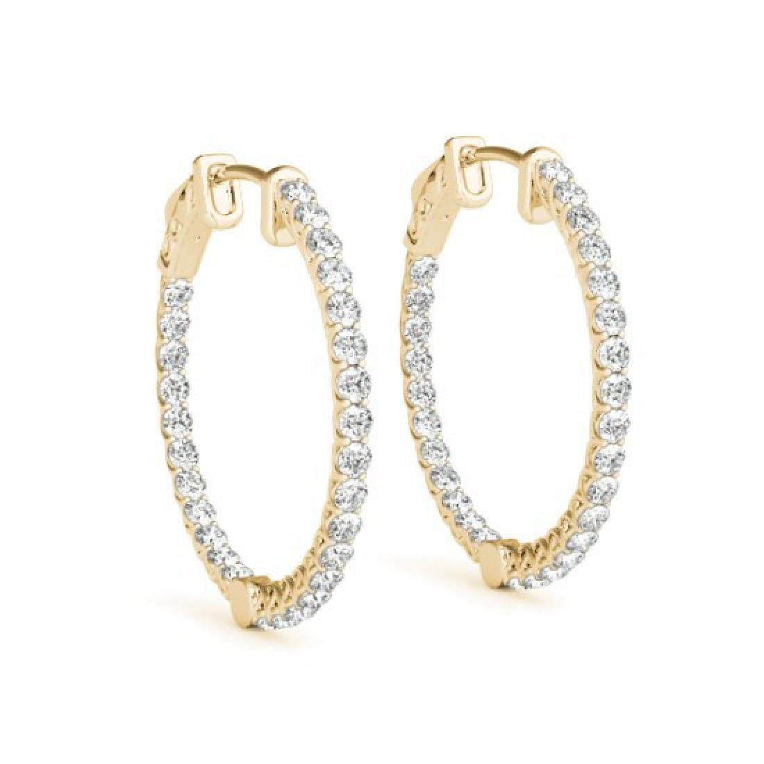 2 CTW Diamond VS/SI Certified 21 Mm Hoop Earrings 14K - 2