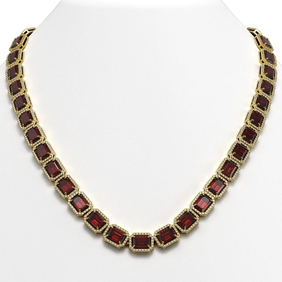 60.59 CTW Garnet & Diamond Halo Necklace 10K Yellow