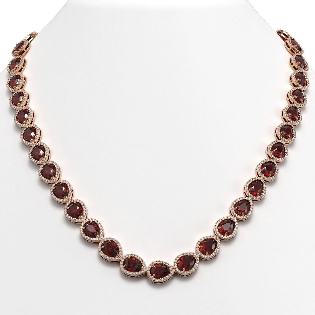 36.93 CTW Garnet & Diamond Halo Necklace 10K Rose Gold