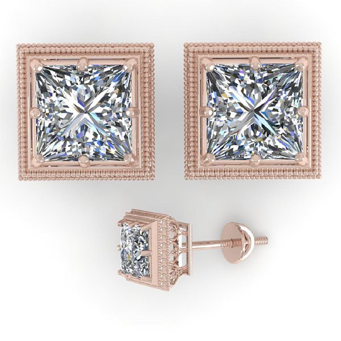 1.0 CTW VS/SI Princess Diamond Stud Solitaire Earrings - 2